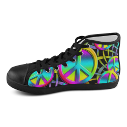 Colorful Peace Pattern Men's High Top Canvas Shoes (Model 002)