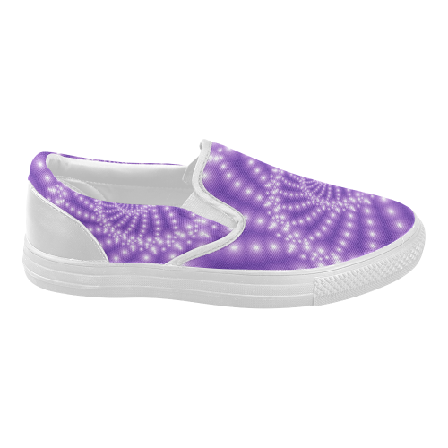 Glossy Purple  Beads Spiral Fractal Women's Slip-on Canvas Shoes (Model 019)