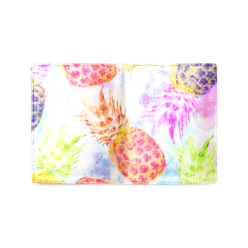 Pineapples Men's Leather Wallet (Model 1612)