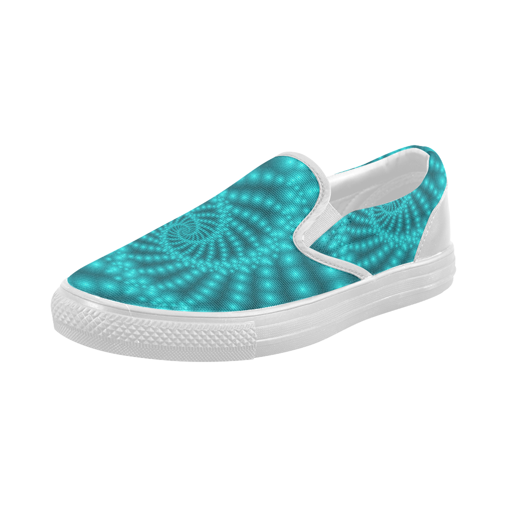 Glossy Turquoise  Beads Spiral Fractal Women's Slip-on Canvas Shoes (Model 019)