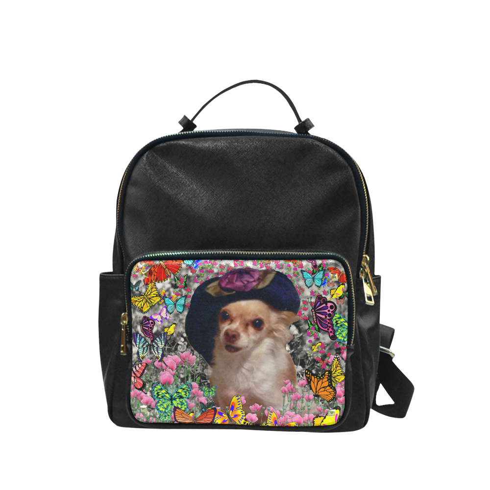 Chi Chi in Yellow Butterflies, Chihuahua Puppy Dog Campus backpack/Large (Model 1650)