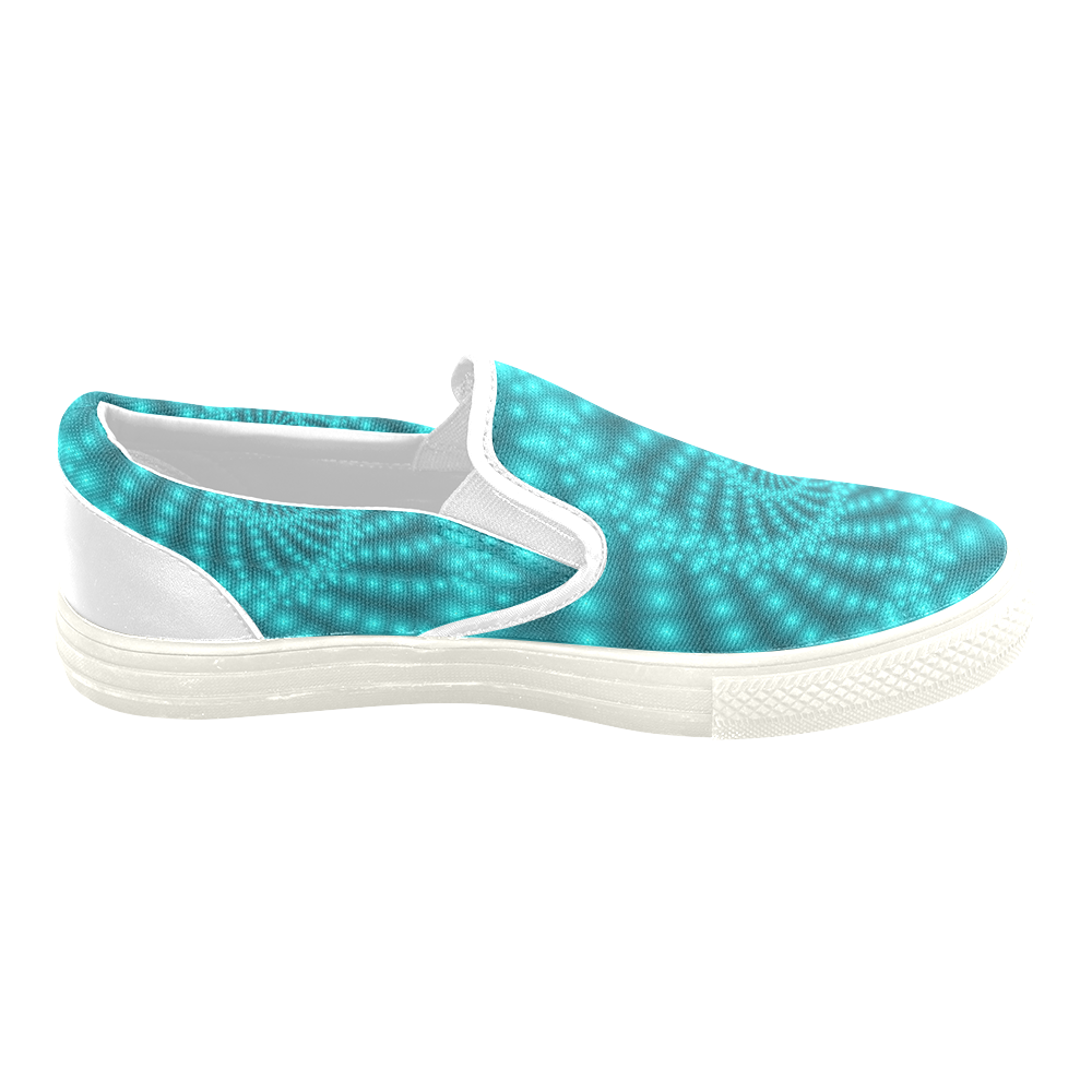 Glossy Turquoise Beads Spiral Fractal Women's Unusual Slip-on Canvas Shoes (Model 019)
