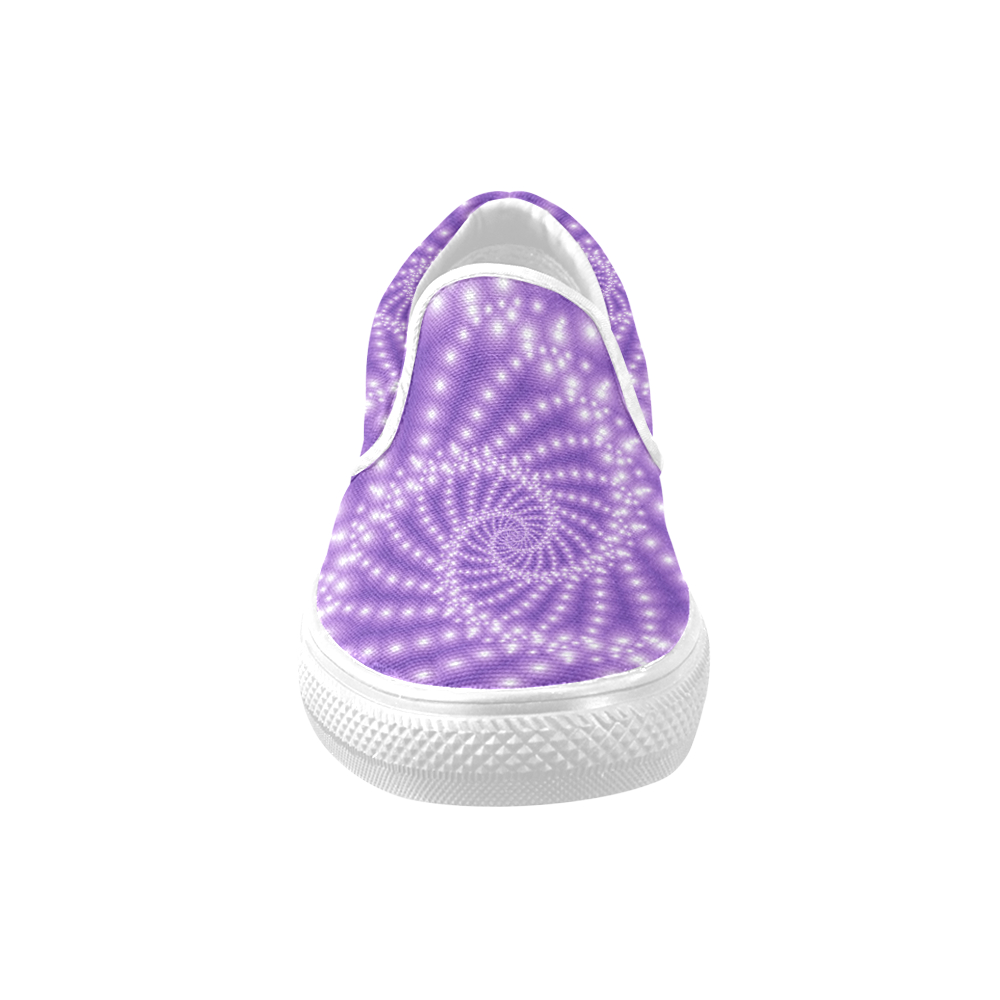 Glossy Purple  Beads Spiral Fractal Women's Unusual Slip-on Canvas Shoes (Model 019)