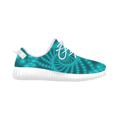 Glossy Turquoise Beads Spiral Fractal Grus Women's Breathable Woven Running Shoes (Model 022)