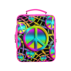 Colorful Peace Pattern Square Backpack (Model 1618)