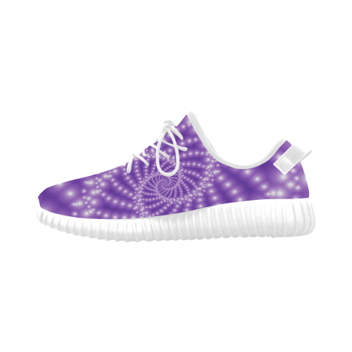 Glossy Purple  Beads Spiral Fractal Grus Women's Breathable Woven Running Shoes (Model 022)