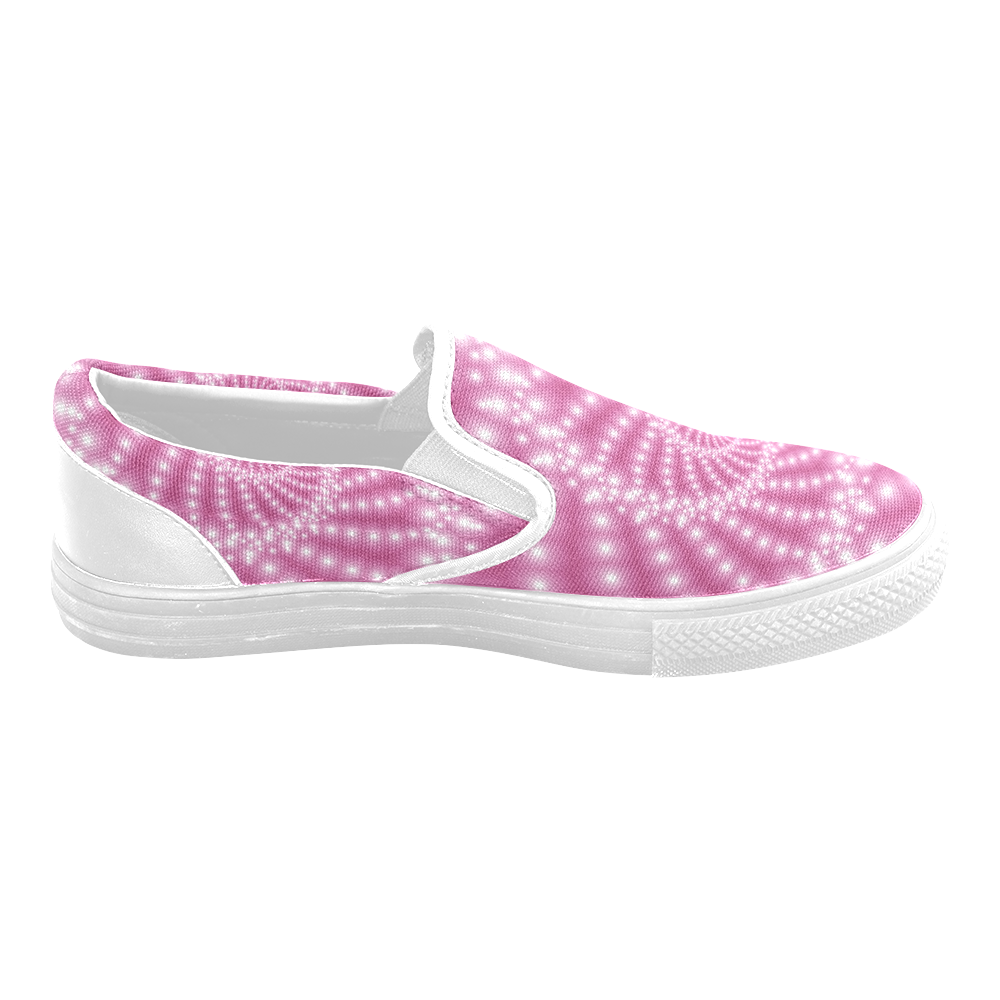 Glossy Pink Beads Spiral Fractal Women's Unusual Slip-on Canvas Shoes (Model 019)