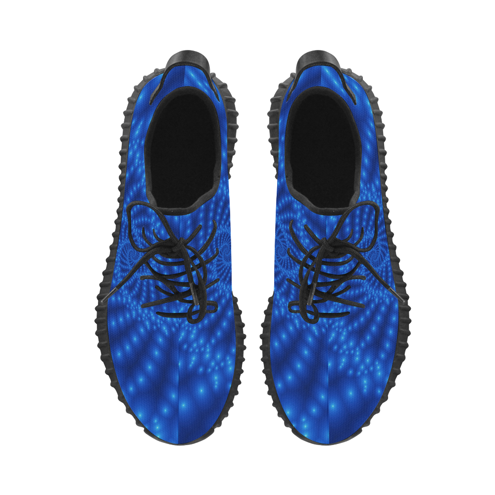 Glossy Blue Beads Spiral Fractal Grus Women's Breathable Woven Running Shoes (Model 022)