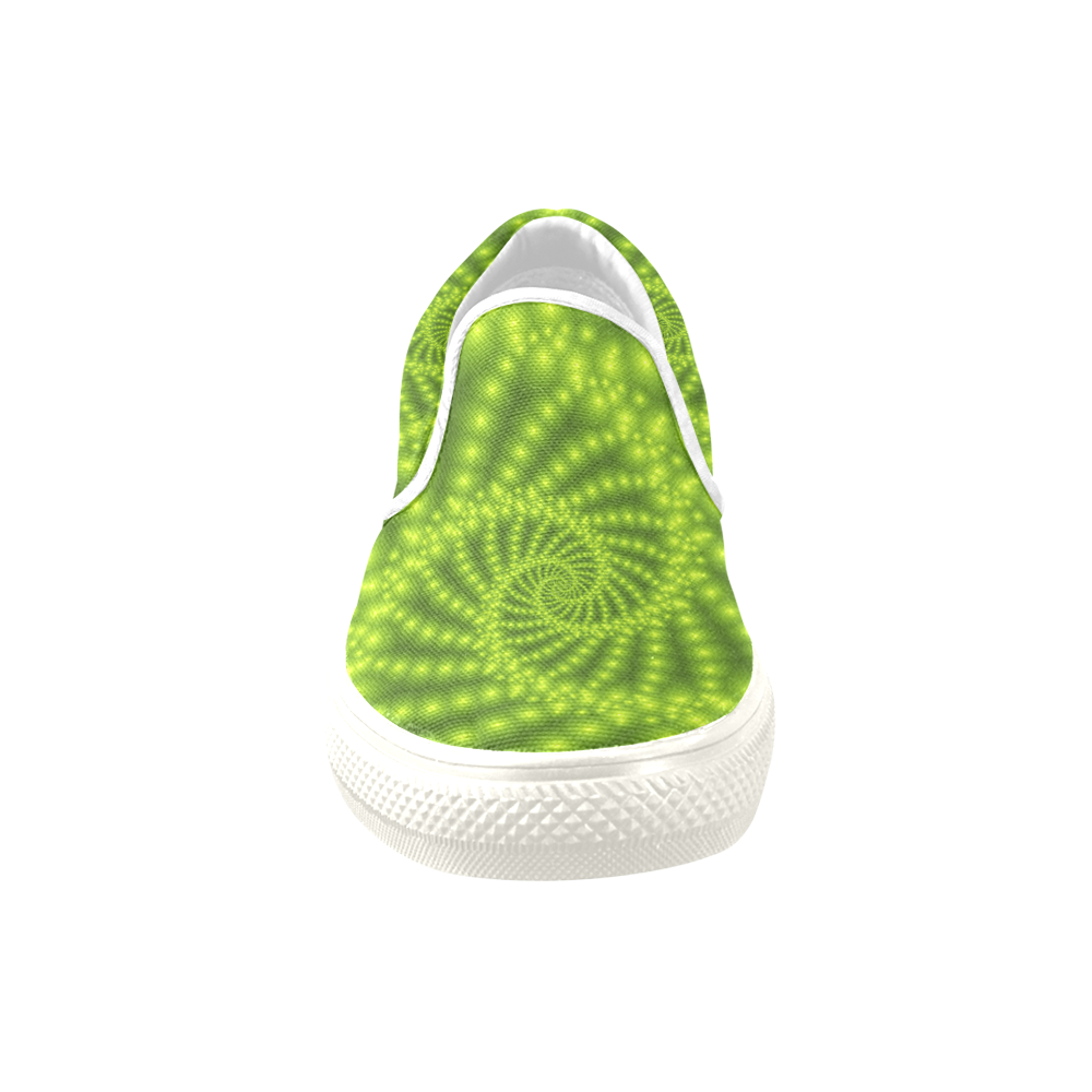 Glossy Lime Green Beads Spiral Fractal Women's Unusual Slip-on Canvas Shoes (Model 019)