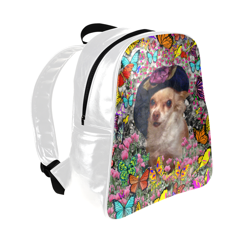Chi Chi in Yellow Butterflies, Chihuahua Puppy Dog Multi-Pockets Backpack (Model 1636)