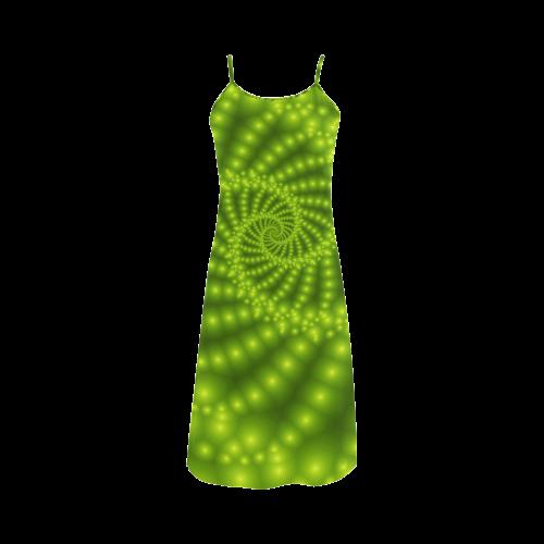Glossy Lime Green Beads Spiral Fractal Alcestis Slip Dress (Model D05)