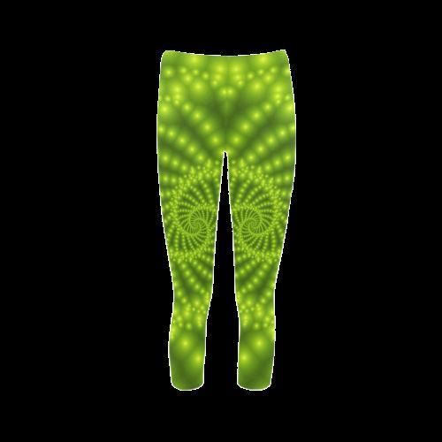 Glossy Lime Green Beads Spiral Fractal Capri Legging (Model L02)