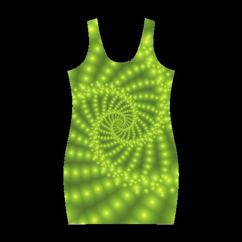 Glossy Lime Green Beads Spiral Fractal Medea Vest Dress (Model D06)