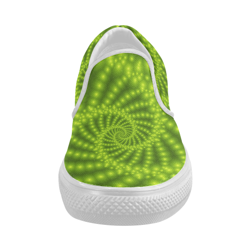 Glossy Lime Green Beads Spiral Fractal Women's Slip-on Canvas Shoes (Model 019)