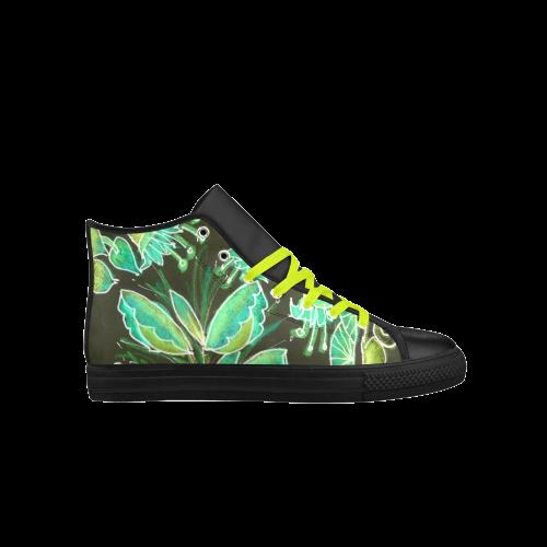 Irish Garden, Lime Green Flowers Dance in Joy Aquila High Top Microfiber Leather Women's Shoes (Model 027)
