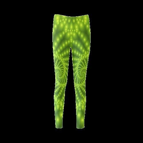 Glossy Lime Green Beads Spiral Fractal Cassandra Women's Leggings (Model L01)