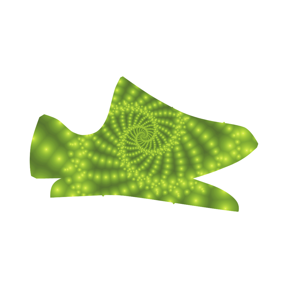 Glossy Lime Green Beads Spiral Fractal Grus Women's Breathable Woven Running Shoes (Model 022)