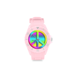 Colorful Peace Pattern Sport Rubber Strap Watch(Model 301)