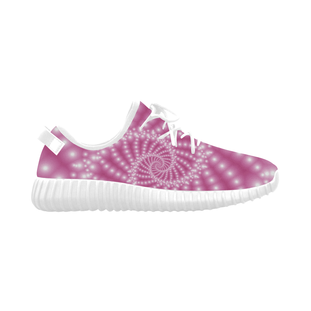Glossy Pink Beads Spiral Fractal Grus Women's Breathable Woven Running Shoes (Model 022)