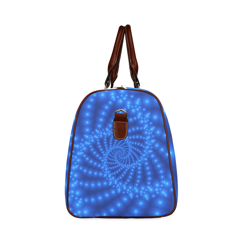 Glossy Blue Beads Spiral Fractal Waterproof Travel Bag/Small (Model 1639)
