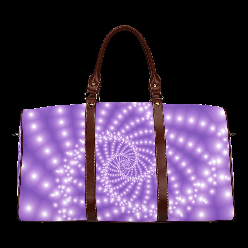Glossy Purple Beads Spiral Fractal Waterproof Travel Bag/Large (Model 1639)