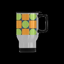 Green and Orange Geometric Pattern Travel Mug (Silver) (14 Oz)