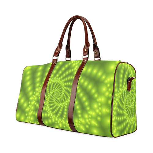 Glossy Lime Green Beads Spiral Fractal Waterproof Travel Bag/Small (Model 1639)