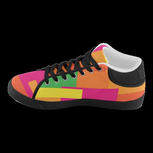 Bright Squares Men's Chukka Canvas Shoes (Model 003)