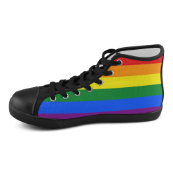 Gay Pride Rainbow Flag Stripes Men's High Top Canvas Shoes (Model 002)