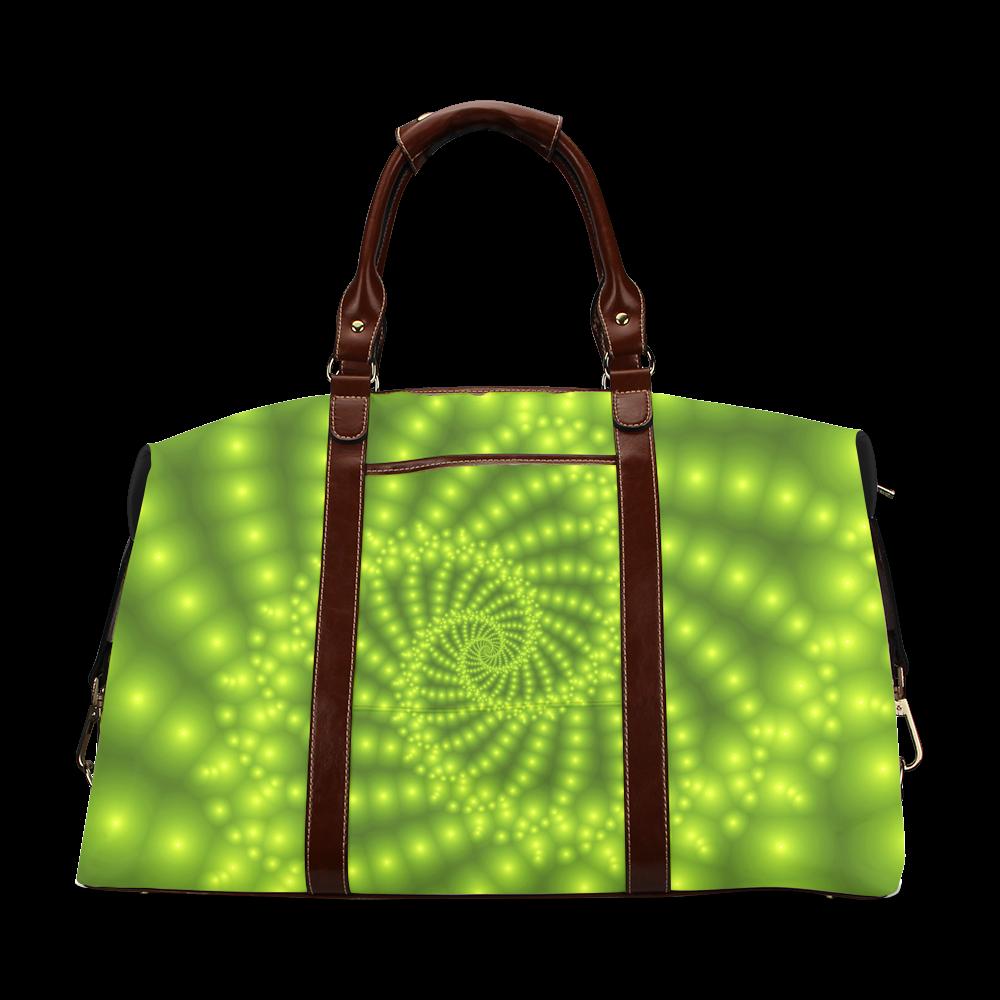 Glossy Lime Green Beads Spiral Fractal Classic Travel Bag (Model 1643)