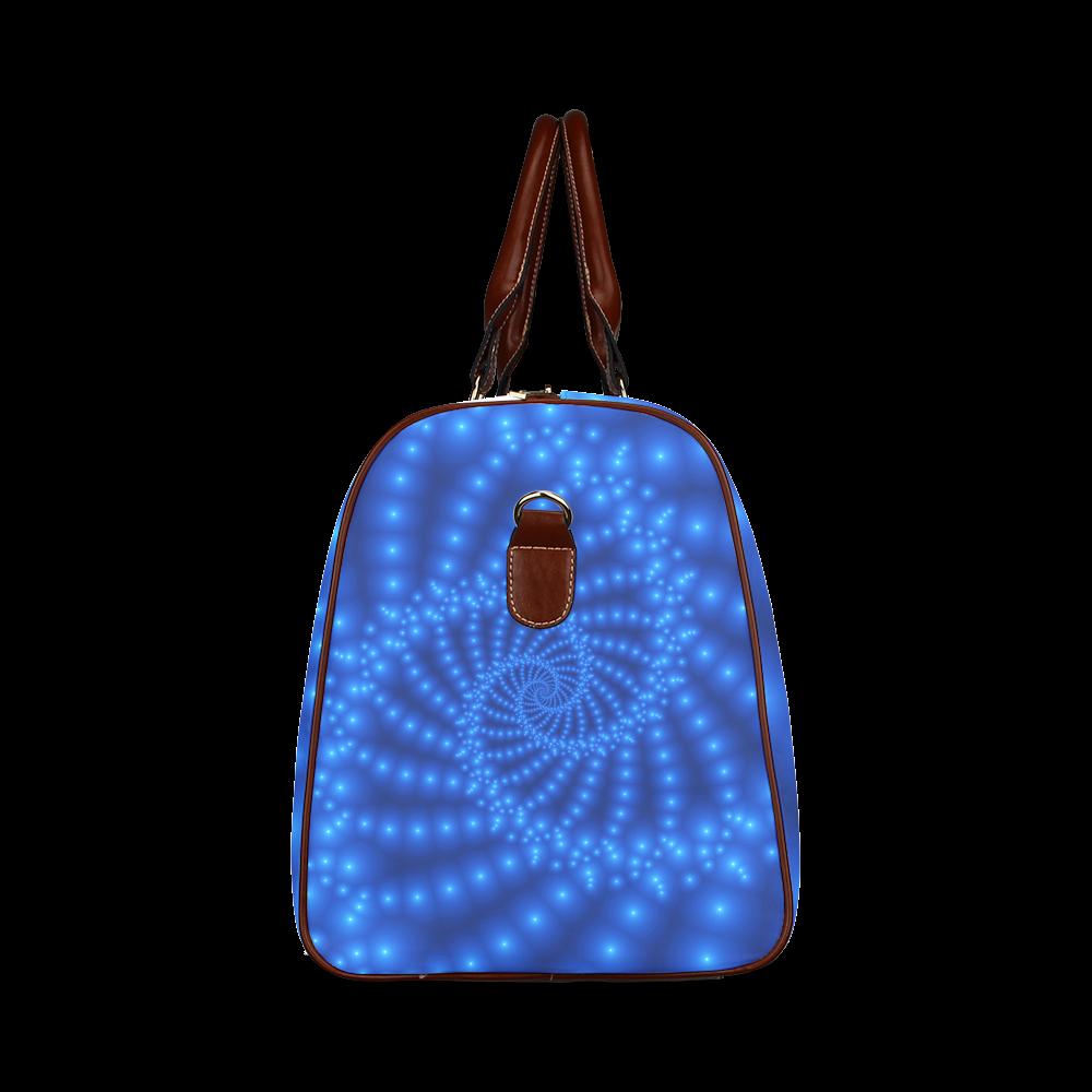 Glossy Blue Beads Spiral Fractal Waterproof Travel Bag/Large (Model 1639)