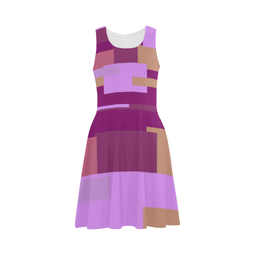 Pink Peach Squares Atalanta Sundress (Model D04)
