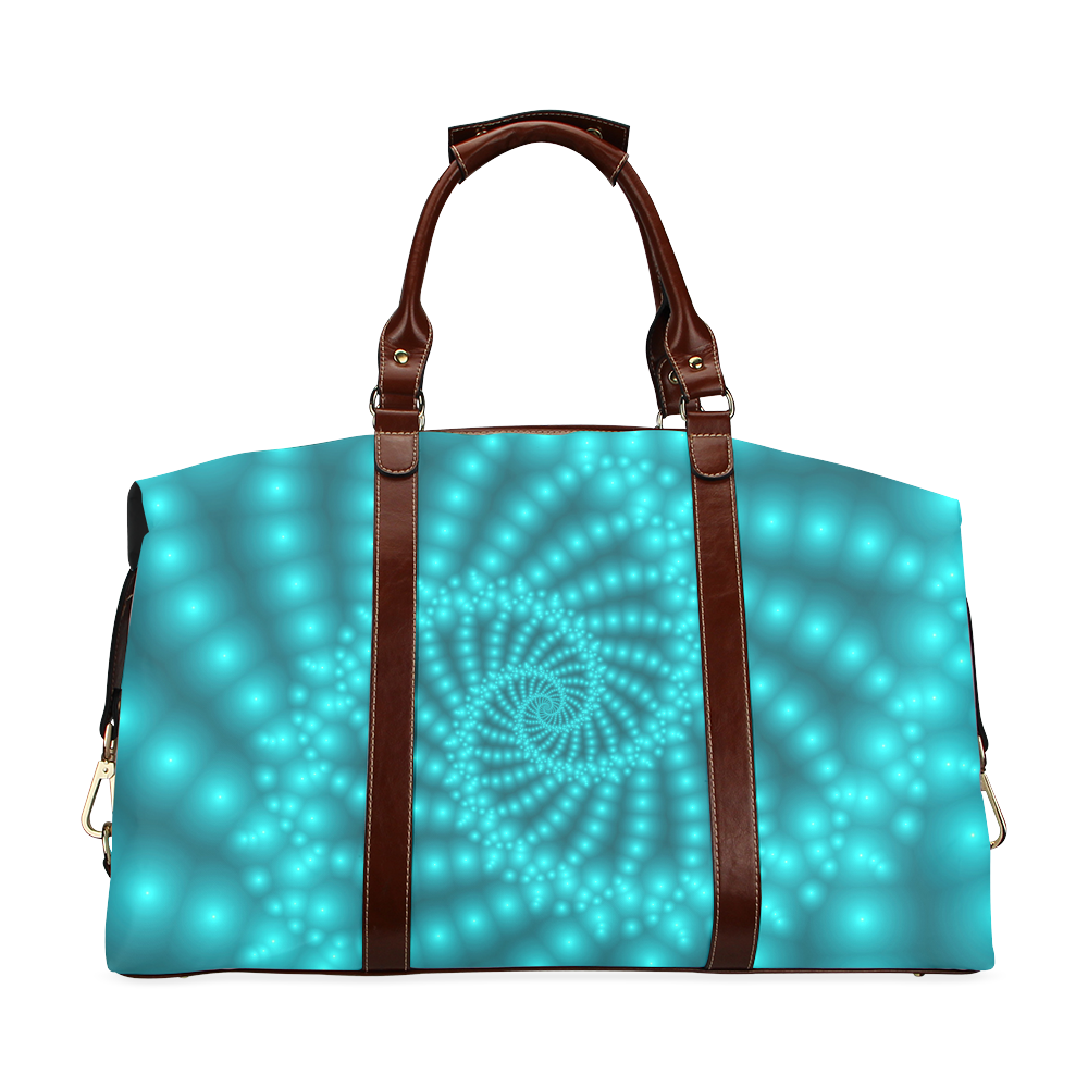 Glossy Turquoise Beads Spiral Fractal Classic Travel Bag (Model 1643)