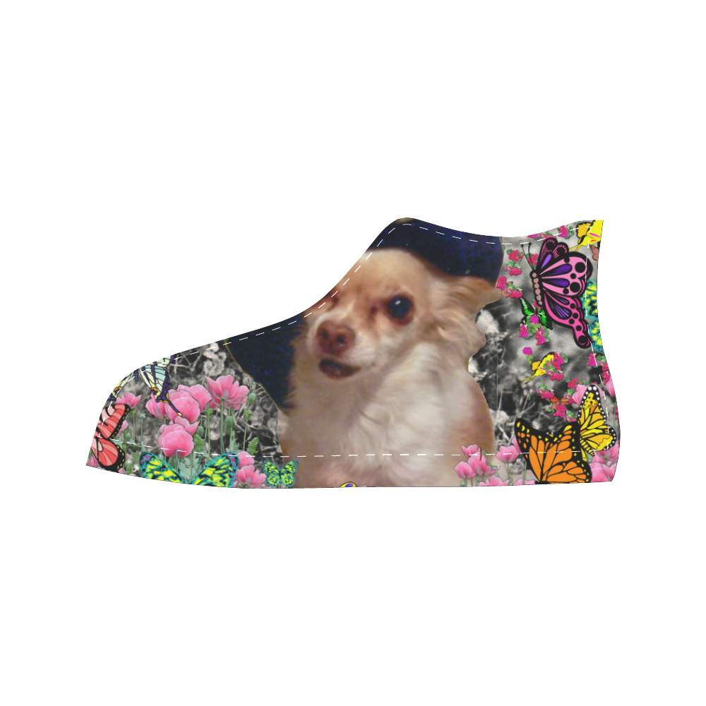 Chi Chi in Yellow Butterflies, Chihuahua Puppy Dog Aquila High Top Microfiber Leather Women's Shoes (Model 027)