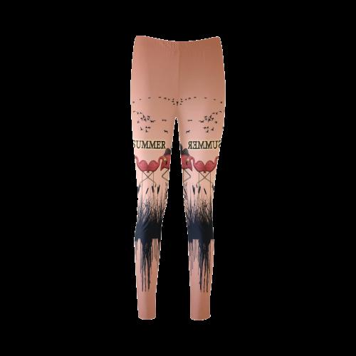 Summer design with flamingo Cassandra Women's Leggings (Model L01)