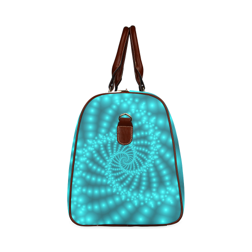Glossy Turquoise Beads Spiral Fractal Waterproof Travel Bag/Large (Model 1639)
