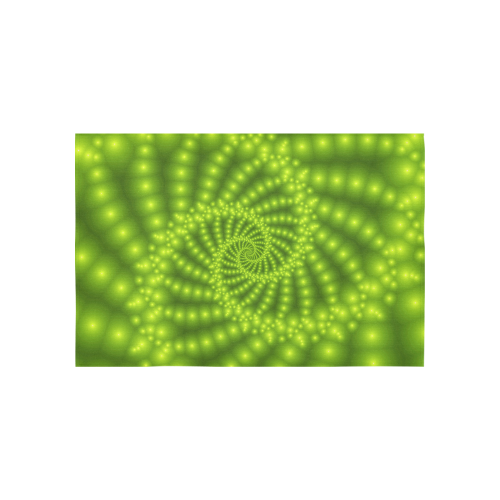 """Glossy Lime Green  Beads Spiral Fractal Cotton Linen Wall Tapestry 60""""x 40"""""""