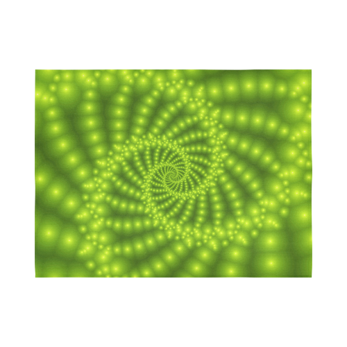 """Glossy Lime Green  Beads Spiral Fractal Cotton Linen Wall Tapestry 80""""x 60"""""""