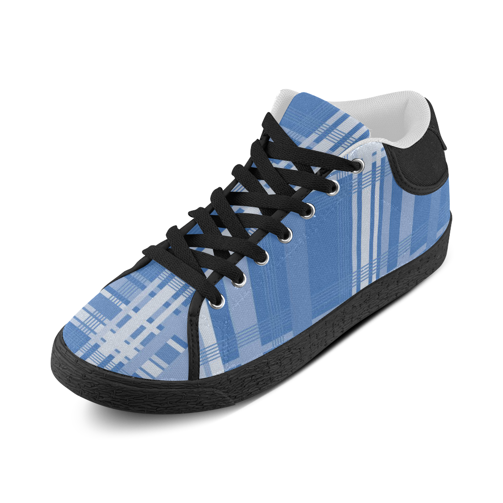 Blue Plaid Men's Chukka Canvas Shoes (Model 003)