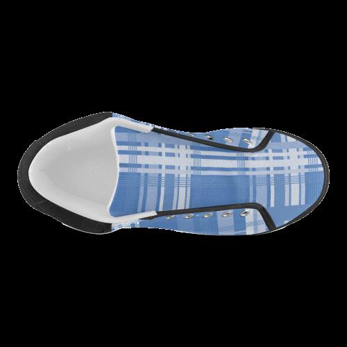 Blue Plaid Women's Chukka Canvas Shoes (Model 003)