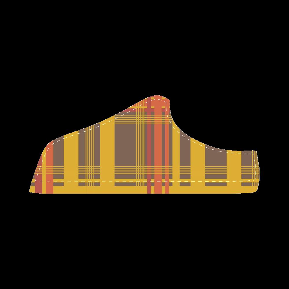Orange Brown Plaid Men's Chukka Canvas Shoes (Model 003)