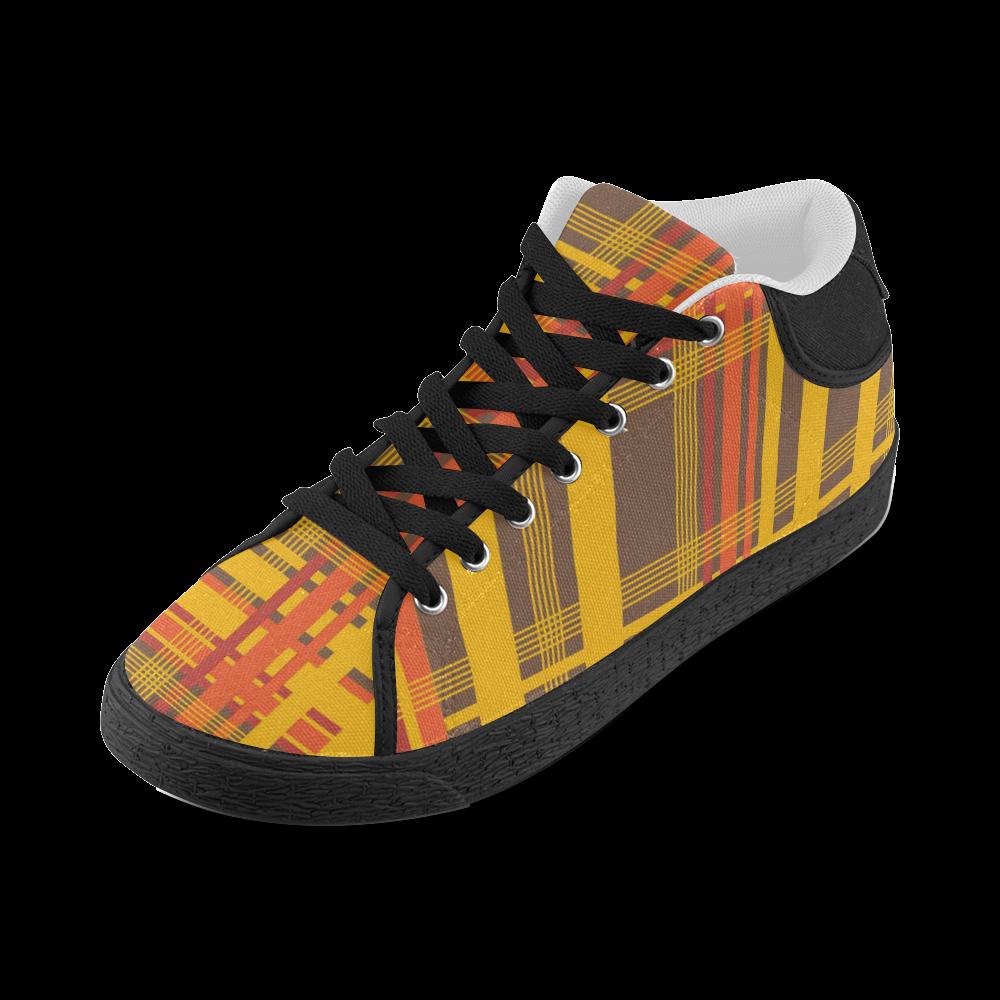 Orange Brown Plaid Women's Chukka Canvas Shoes (Model 003)