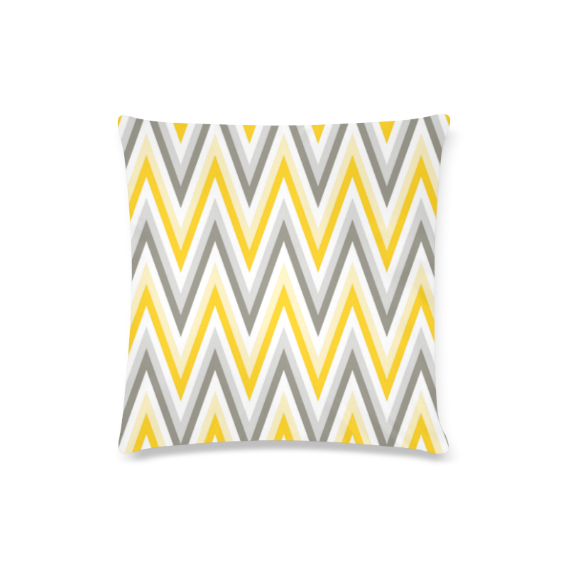 "Yellow Grey White Chevron Zig Zag Pattern Custom Zippered Pillow Case 16""x16""(Twin Sides)"