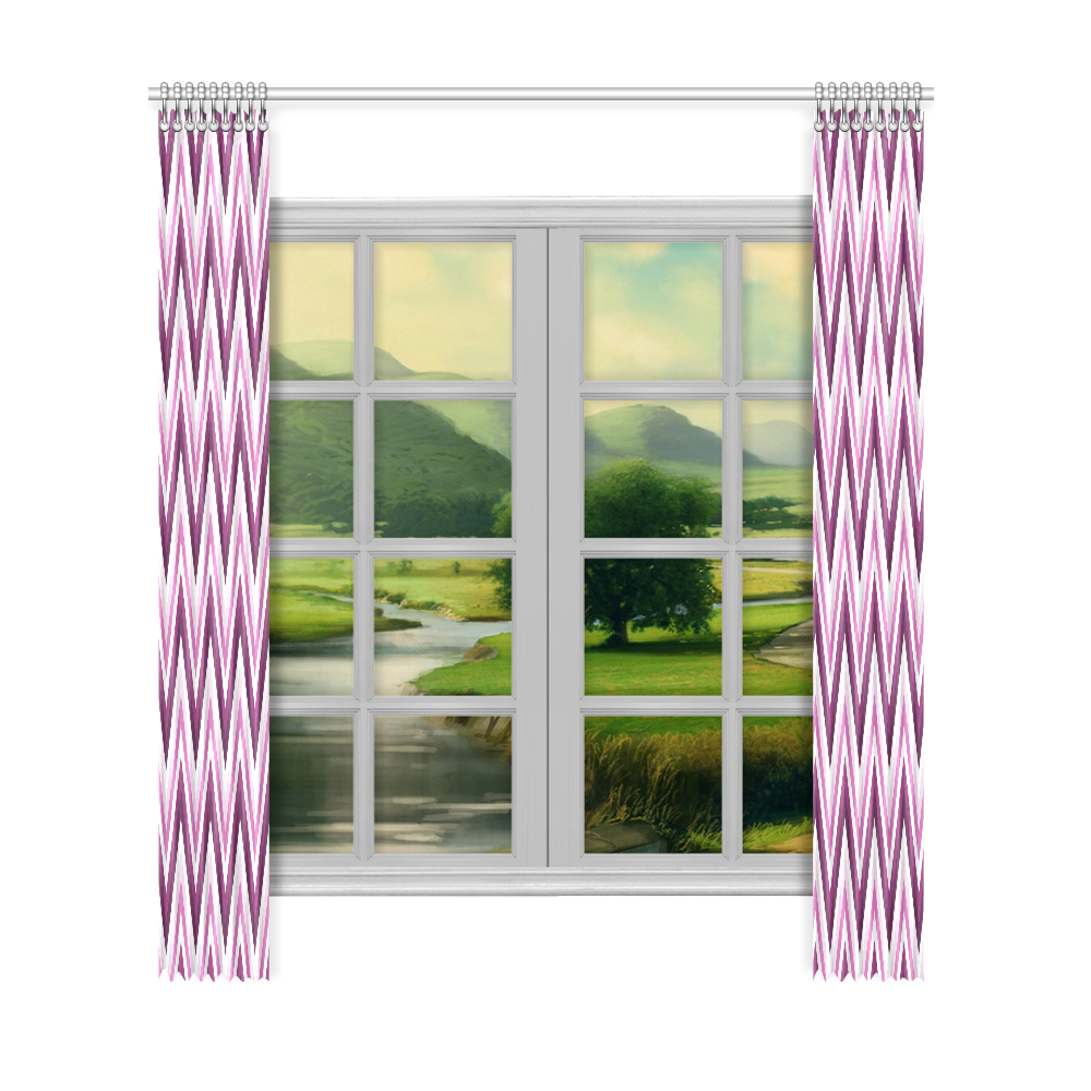 "Plum Purble White Lila Chevron Pattern Zig Zag Window Curtain 52""x120""(Two Piece)"