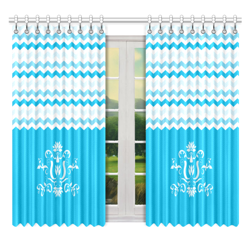 "Blue White Chevron Pattern Zig Zag Ornament Window Curtain 52"" x 63""(One Piece)"