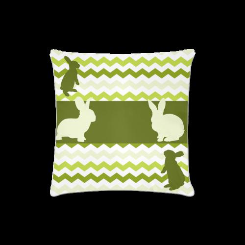 "Green Lemon Chevron Pattern Zig Zag Rabbit Custom Zippered Pillow Case 16""x16""(Twin Sides)"
