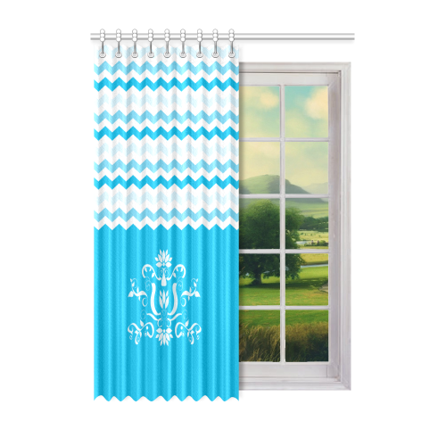 "Blue White Chevron Pattern Zig Zag Ornament Window Curtain 52"" x 72""(One Piece)"