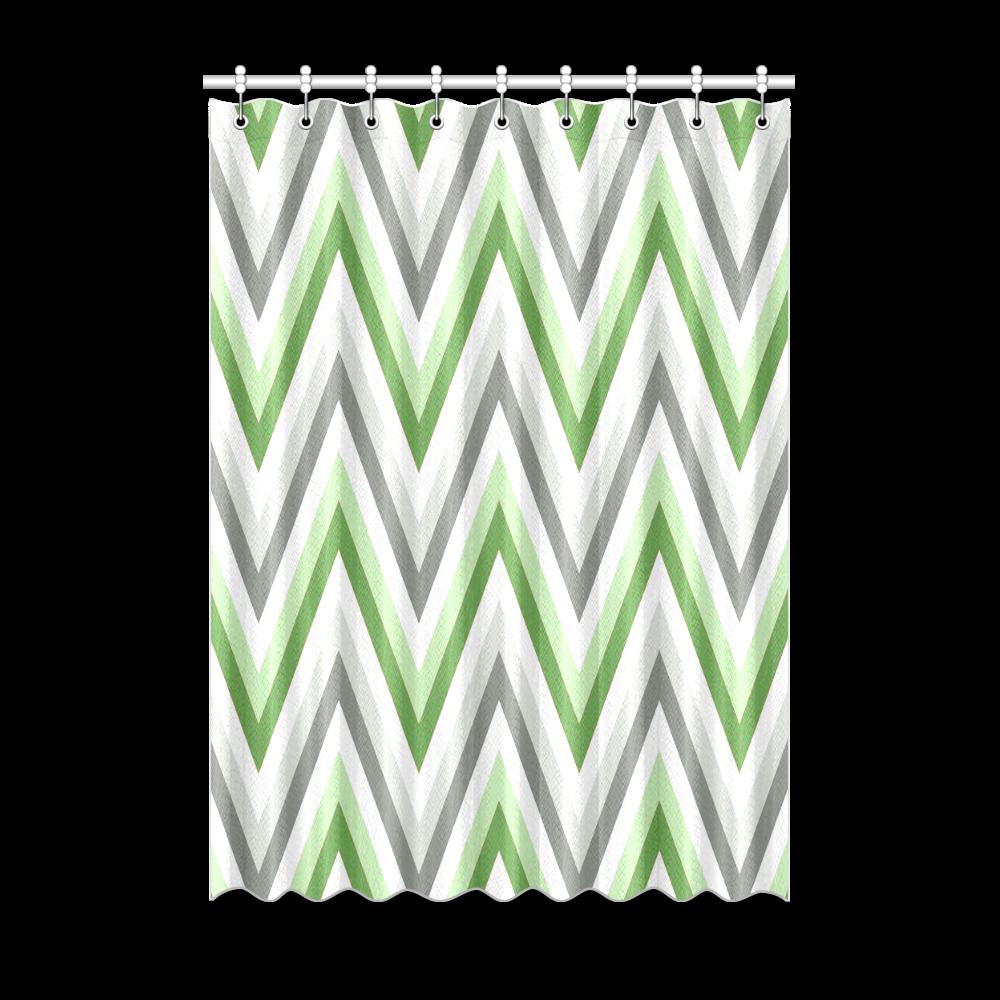 "Green Grey and White Chevron Zig Zag Pattern Window Curtain 52"" x 72""(One Piece)"