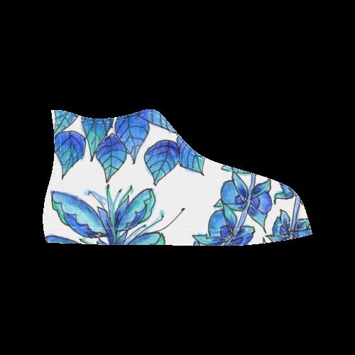 Pretty Blue Flowers, Aqua Garden Zendoodle Aquila High Top Microfiber Leather Men's Shoes (Model 027)
