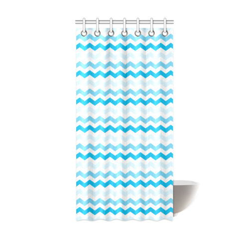 "White and Blue Chevron Pattern Zig Zag Shower Curtain 36""x72"""